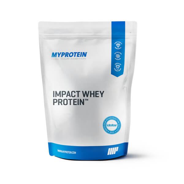 empaque de impact whey protein de la marca myprotein